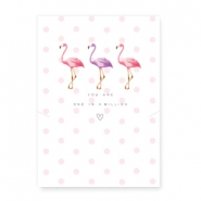 "Tarjetas de joyería ""You are one in a million"" met flamingo blanco-rosa"