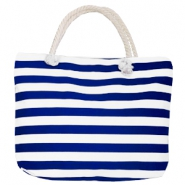 Bolso Fashion playa rayas blanco-azul oscuro