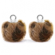 Colgante pompón con anilla faux fur leopardo 12mm chocolate marrón -plata