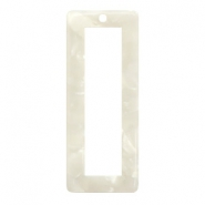 Colgantes de resina rectangular 40x16mm blanco off