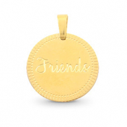 "Colgantes Acero Inox redondo 15mm ""friends"" Mix&Match Oro"