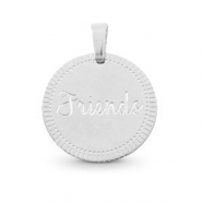 "Colgantes Acero Inox redondo 15mm ""friends"" Mix&Match Plata"