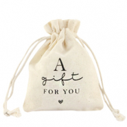 "Bolso en lino ""a gift for you"" Blancuzco"