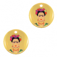 Colgantes metálicos DQ 15mm Frida Kahlo Oro (sin níquel)