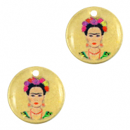 Colgantes metálicos DQ 15mm Frida Kahlo Bronce viejo (sin níquel)