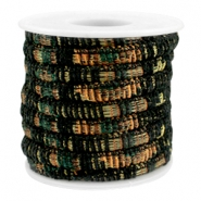 Cordón con costura Trendy 6x4mm multicolor negro-cobre-verde oscuro