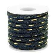 Cordón con costura Trendy denim 6x4mm azul indigo night-dorado