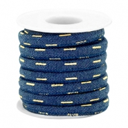 Cordón con costura Trendy denim 6x4mm azul midnight oscuro -dorado