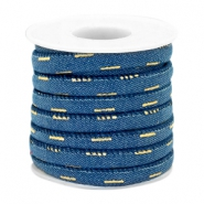 Cordón con costura Trendy denim 6x4mm azul midnight-dorado