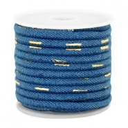 Cordón con costura Trendy denim 4x3mm azul midnight-dorado