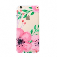 Funda de móvil Trendy para iPhone 7 Plus flor transparente-rosa verde