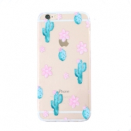 Funda de móvil Trendy para iPhone 7 Plus cactus & flores transparente-azul rosa