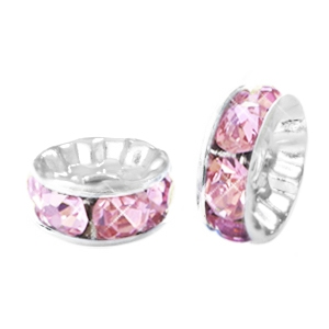 Abalorios Strass rondeles 8mm plata-rosa